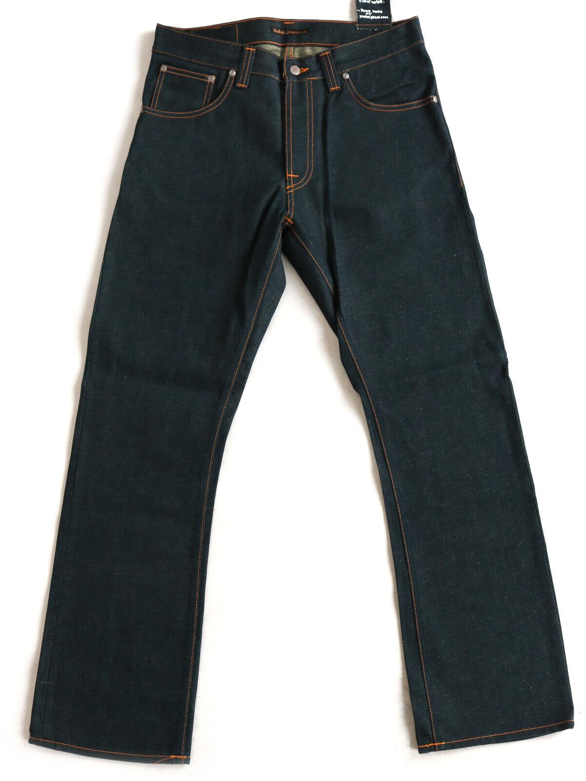 Nudie Men's Raw-Jeans-Hose Slim Straight Fit Slim Jim Dry Greycast