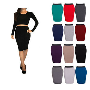 Da-Donna-Tinta-Unita-Bodycon-Matita-Vita-Alta-Donna-Stretch-Midi-Gonna-ufficio-8-26
