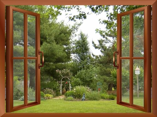 "Garden//Backyard View from inside a Window 36/""x48/"" Wall Mural"