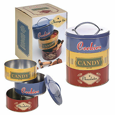 Set Of 3 Metal Round Cookie Tins Dry Food Kitchen Stackable Storage Canister