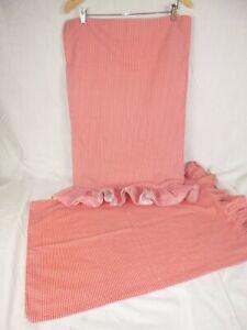 Pr Ralph Lauren Red Small Gingham Check Ruffled Std. Pillowcases 100% Cotton