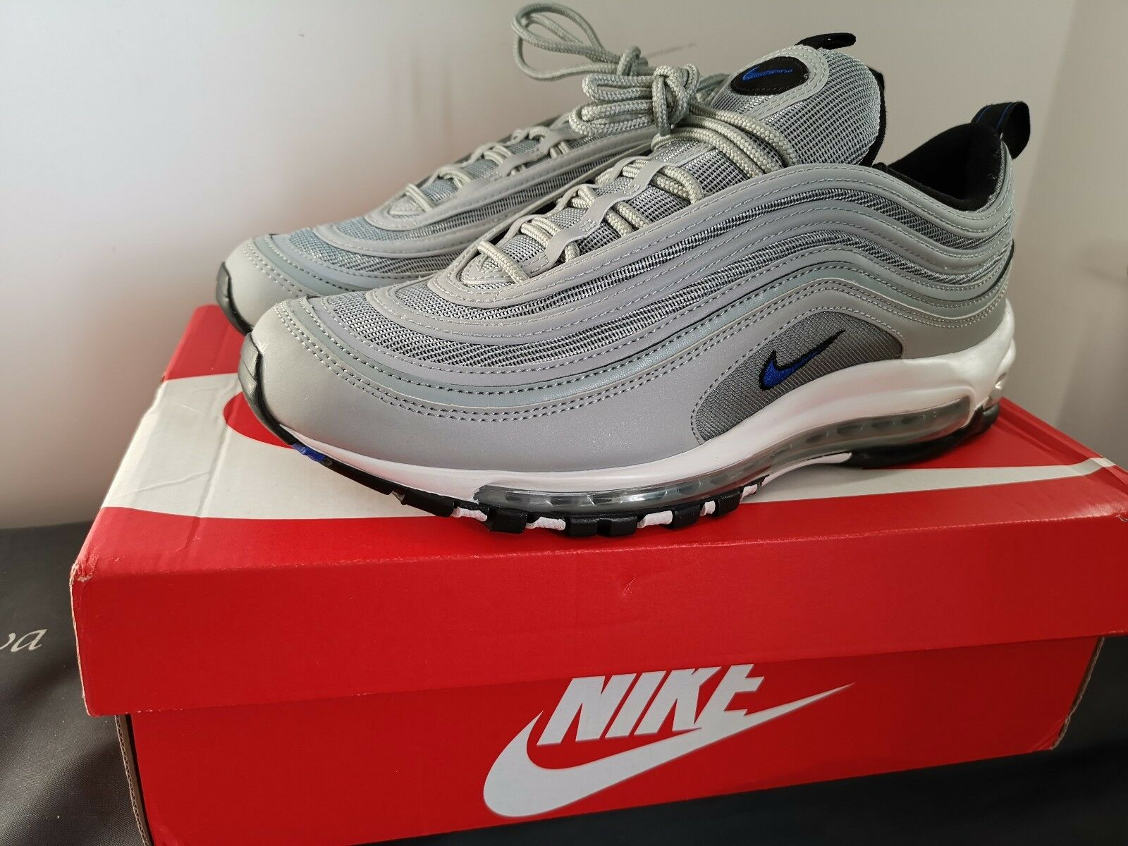 info for ea516 99930 Nike Air Max 97 US 10 44 AQ7331 001 argent argent argent gris bleu reflet 3  m blanc cassé 26c221