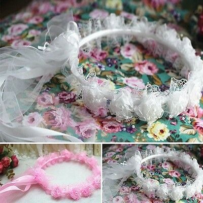 Flower Girl Headband New Lace Headpiece Child Rose Ribbon Garland Wedding Tiara
