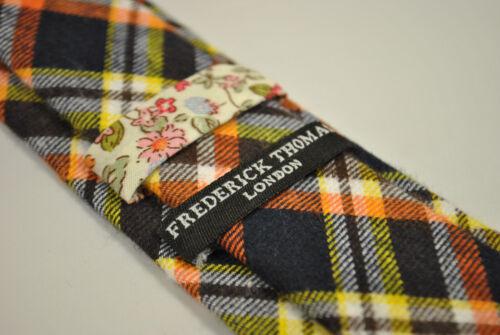 Frederick Thomas navy blue yellow and orange checked 100/% cotton tie FT2152