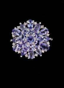 Plata-de-Ley-Ovalado-Tanzanita-2-75-Cttw-amp-Anillo-Racimo-de-Diamantes-Talla-9