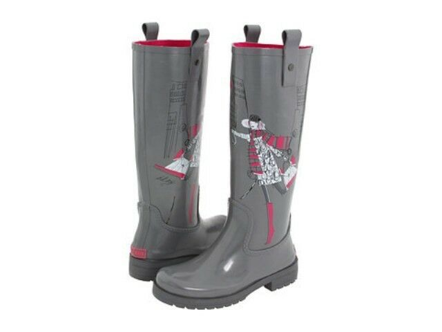 DKNY NIAGRA ICONIC FUNKY PERFECT LOGO TALL RUBBER RAIN BOOTS I LOVE Schuhe