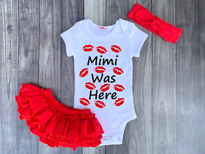 Mimi Was Here Kisses Girls Bodysuit Romper Outfit Shirt Set