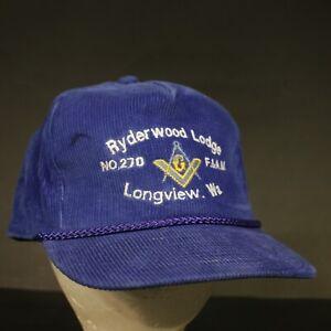 Vintage-Ryderwood-Lodge-Corduroy-Trucker-Hat-Cap-Strapback-Blue-Retro