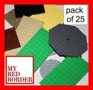 LEGO-25-x-Base-Plaques-planches-Bandes-bases-Couleurs-Melangees-Lumiere-Rouge-Gris-Fonce-Bleu