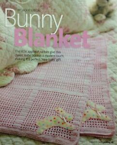Crochet Baby Blanket Patterns 4 Ply : Baby Blanket With Felt Rabbit Design 4 Ply CROCHET PATTERN ...