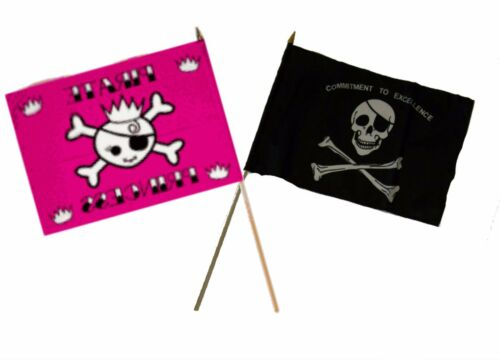 """12x18 12/""""x18/"""" Wholesale Combo Pirate Princess /& Commitment Excellence Stick Flag"""