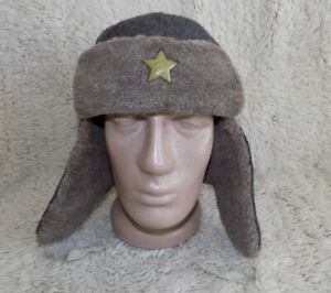 Military-warm-Hat-034-Ushanka-034-Red-Army-winter-fur-hat-amp-brass-red-star-16320