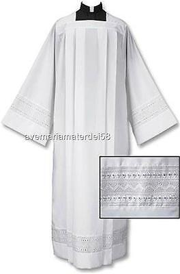 Catholic Square Neck Rochet Alb Box Pleated Eyelet Embroidery S,M,L,X-LG