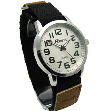 Ravel Gents Easy-Read Watch Large Numbers Black/Brown Sports Strap 1601.64.1