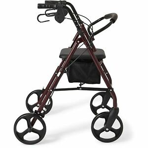 NEW-Rollator-8-034-Casters-Rolling-Walker-Senior-Walker-with-Padded-Seat