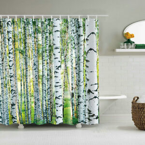 Image Is Loading Woodland Decor Shower Curtain Birch Trees Nature Themed