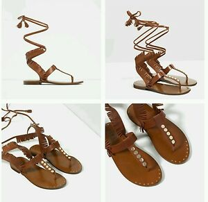 716cccbabde ZARA FRINGED FLAT LEATHER SANDALS EUR 37 US 6.5 REF. 3759 101 NWT ...