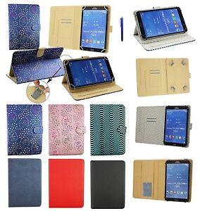 Premium-7-034-8-034-Pollici-Cuoio-Multi-angolo-Portafoglio-per-Diversi-Tablets-amp-Stilo
