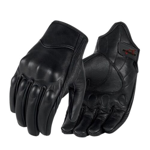 Motorcycle Leather Touch Screen Men Women Moto Electric Bike Black Gloss Gloves