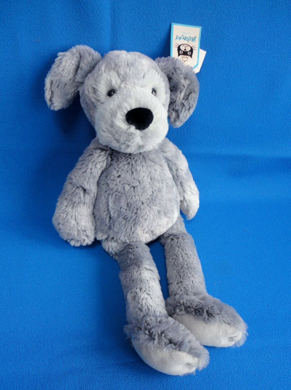 RARE  retired 15  tall 2 TONE GREY PUPPY DOG soft toy PUDDLE MUTT JELLYCAT + TAG