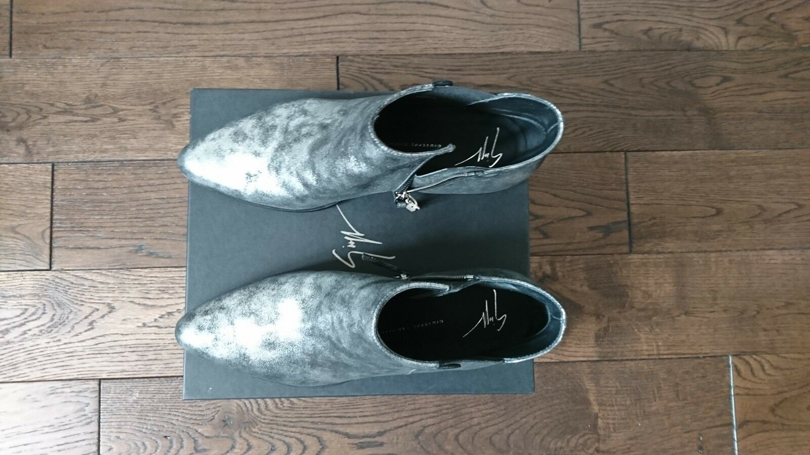 GIUSEPPE GIUSEPPE GIUSEPPE ZANOTTI plata Metallic Italian Nubuc Leather Daddy Ankle bota IT 40.5 fb607e