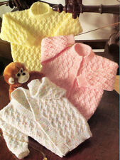 """KNITTING PATTERN ~4 PLY ~TEXTURE BABY CARDIGANS & SWEATER ~ 16"""" - 22"""""""