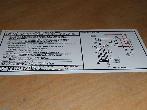 1987 FORD F-150 F150 F250 302 ENGINE EMISSIONS DECAL