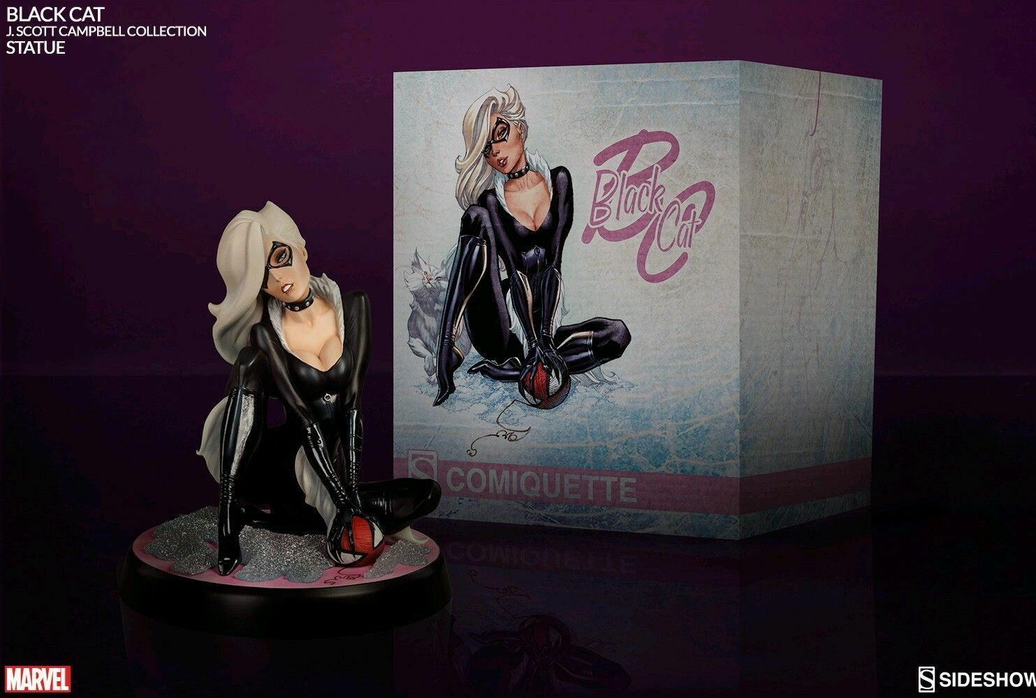 Sideshow Negro CAT Spider-man COMIQUETTE Statue CAMPBELL Spiderman new SALE