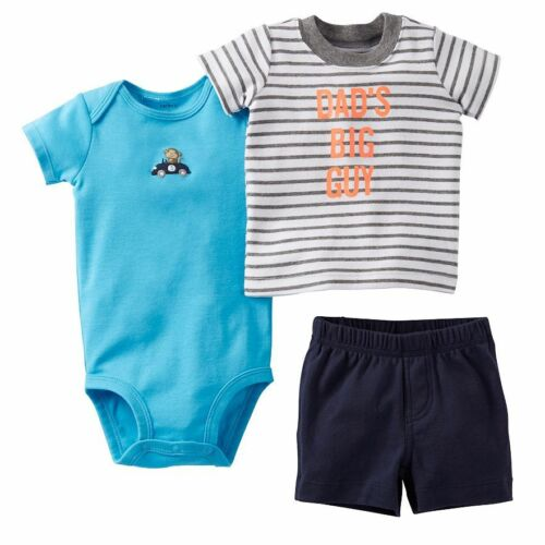 "Carter/'s NWT Boy NB /""DAD/'S BIG GUY/"" 3Pc Tee Bodysuit Short Set $24"