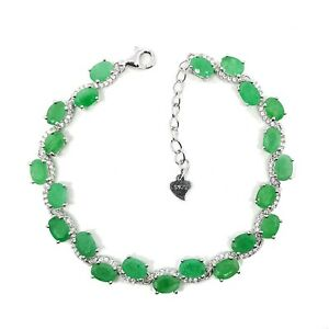 6x4mm-Oval-Natural-Green-Emerald-Gemstone-925-Sterling-Silver-Chain-Bracelet