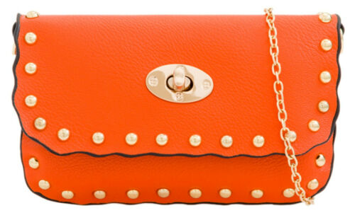 Ladies Faux Leather Clutch Bag Round Studs Turn Twist Summer Color Party Evening