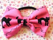 "NEW 3"" PINK BLACK CAT RETRO PRINT FABRIC BOW HAIR ELASTIC BAND PONYTAIL BOBBLE"