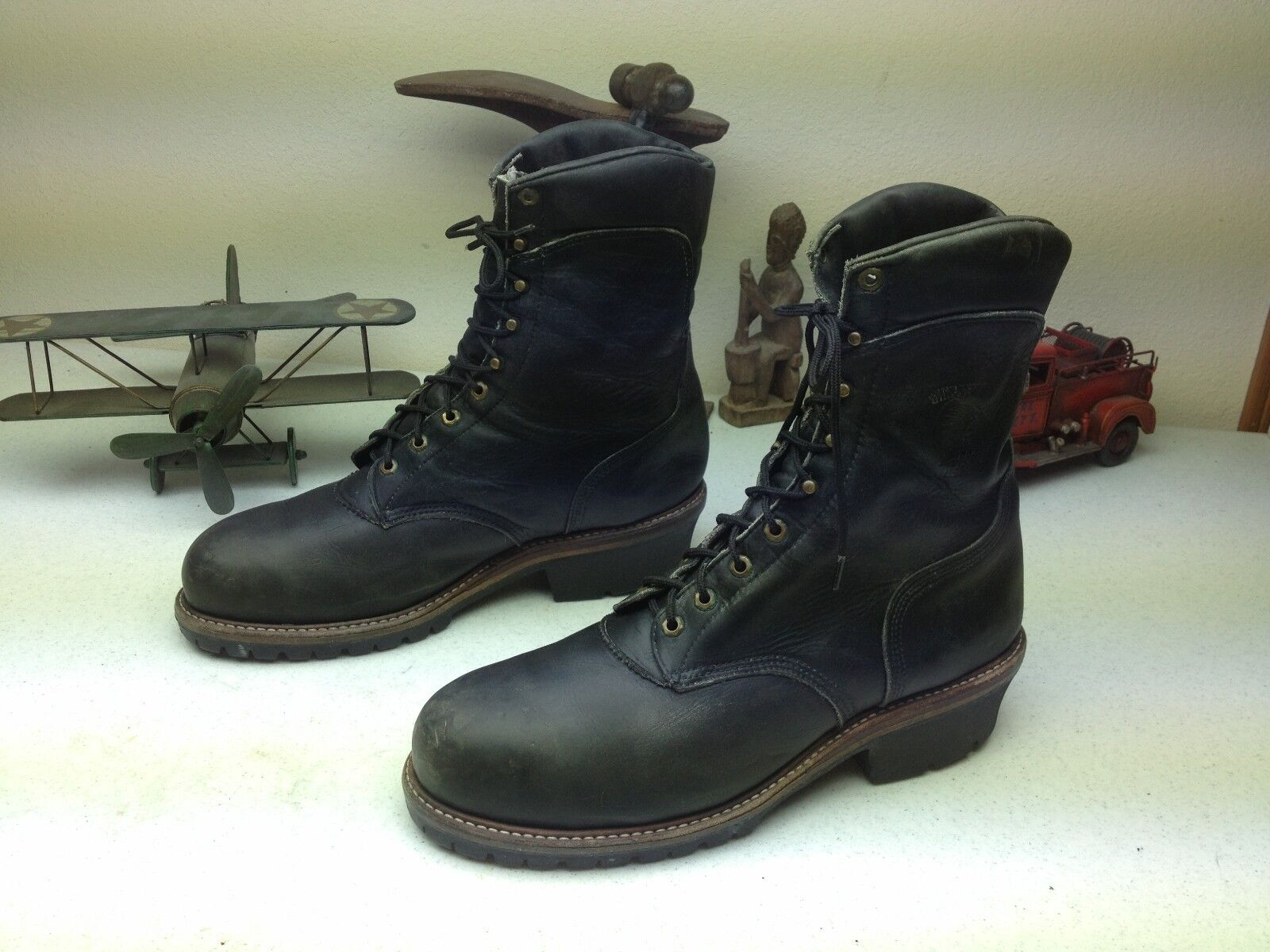 DISTRESSED BLACK MADE IN USA BLACK LOGGER STEEL TOE WORK BOOTS 14 E