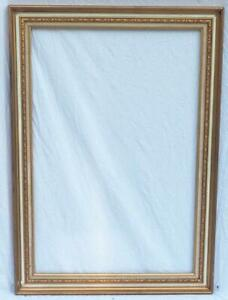 """Vintage Large 42""""x29-1/2"""" Painted Gold Wood Ornate Picture Frame"""