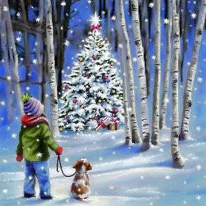 20 servietten shining tree kind mit hund weihnachtsbaum. Black Bedroom Furniture Sets. Home Design Ideas