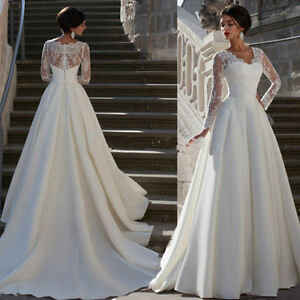 Lace Satin Long White Dresses with Sleeves