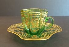 19th C. GREEN MOSER ART GLASS GILT ENAMELED DEMITASSE CUP & SAUCER, c. 1885-1900