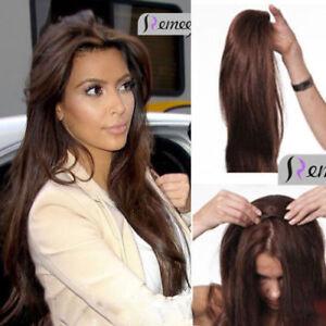 Remy 3 4 Half Wig 100% Human Hair Half Wig Straight Hair Machine ... 60dffedfb0a3