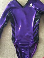 Adidas Gymnastics Purple & Black Twisting Gymnastics Leotard Child Small