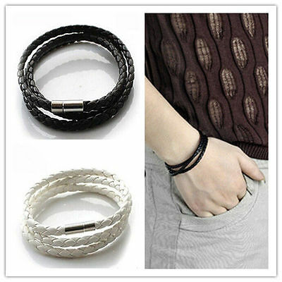 Fashion Womens Mens Black Leather Interlaced Cuff Bangle Wristband Bracelet