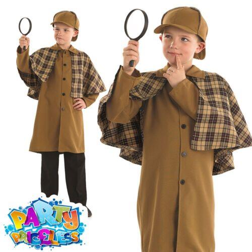 Boys Sherlock Holmes Costume Child Victorian Detective Fancy Dress Outfit Kids