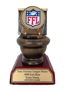 Last Place Fantasy Football Toilet Loser Trophy Engraved