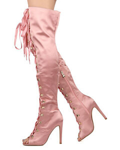 2dbdeac134d8b Cape Pink Satin Lace up Front Open Toe OTK Thigh Boot High Heel | eBay