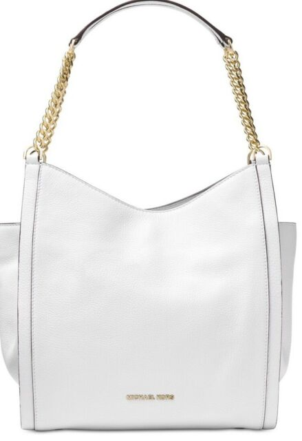52a814399d03 Michael Kors Optic White Leather Newbury MD Chain Shoulder Tote Purse