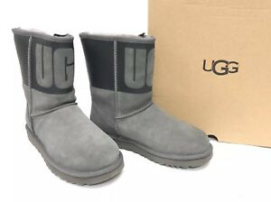 7d46eea8681 Details about Ugg Australia Classic Short Ugg Rubber Boot Shearling 1096473  Graphic Grey Black
