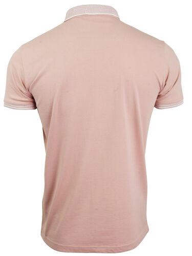 Da Uomo Polo T-shirt Jacquard COLLARE polsino manica corta pianura causale Slim Fit Top