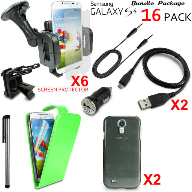 16 x Accessory Bundle Case Car Holder Charger Kit For Samsung Galaxy S4 i9500