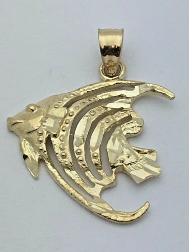 14k Yellow Gold Angel Fish Nautical Sea Life Charm Pendant 1.5grams