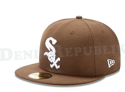 New Era 5950 CHICAGO WHITE SOX Walnut & White Cap MLB Fitted Baseball Brown Hat