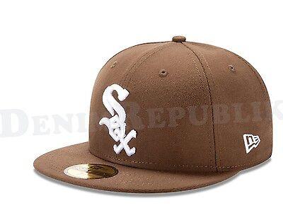 New Era 5950 CHICAGO WHITE SOX Walnut & White Cap MLB Fitted Baseball Brown Hat